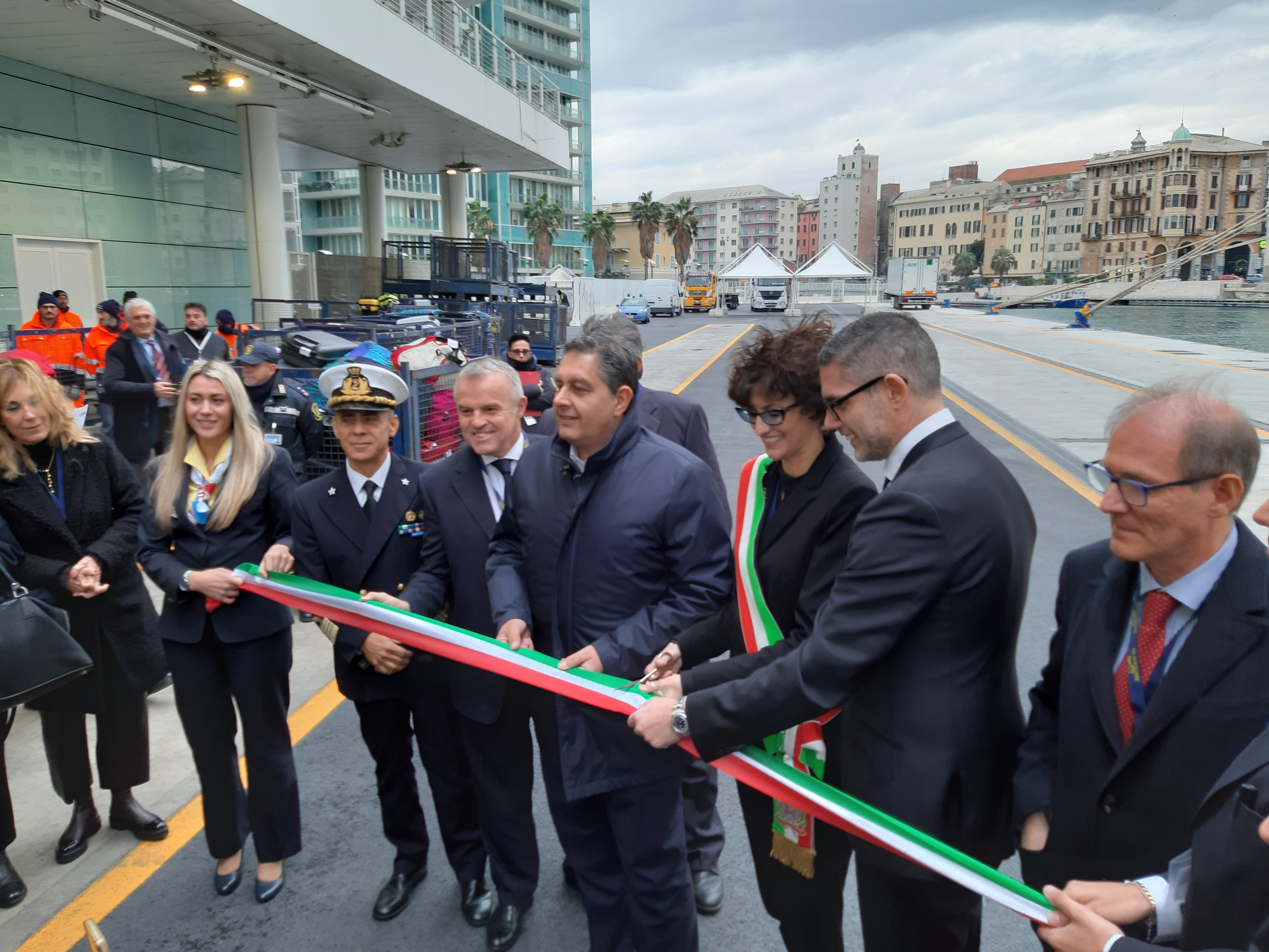 Inauguration of the updated cruise Calata delle Vele quay in Savona